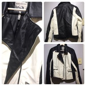 Body Central black and White Moto Jacket XL